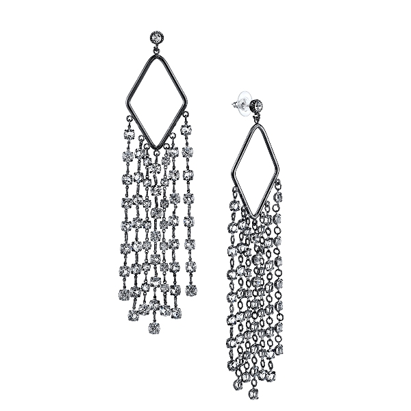 Signature Jet-Tone Genuine Swarovski Crystal Tassel Statement Earrings