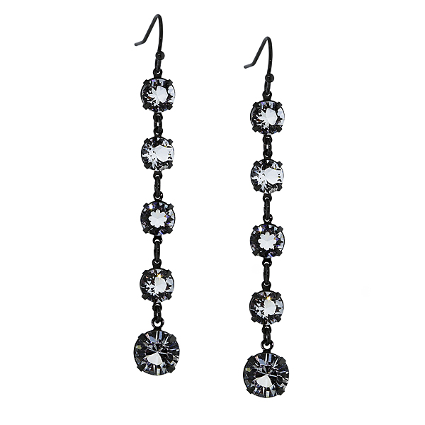 Signature Jet-Tone Genuine Swarovski Crystal Linear Drop Earrings