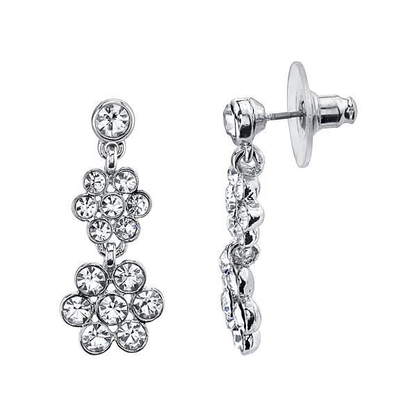 Silver-Tone Crystal Flower Double Drop Earrings