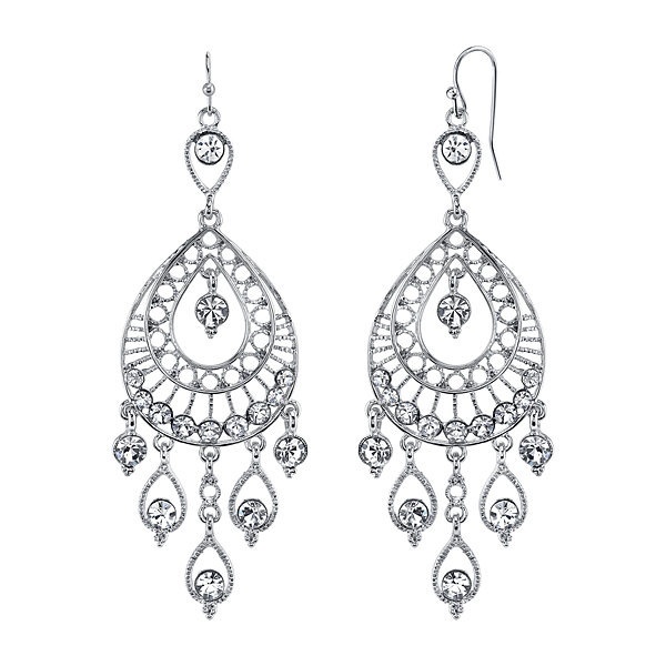 Silver-Tone Crystal Filigree Teardrop Chandelier Earrings