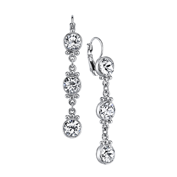 Silver-Tone Round Crystal Linear Drop Earrings