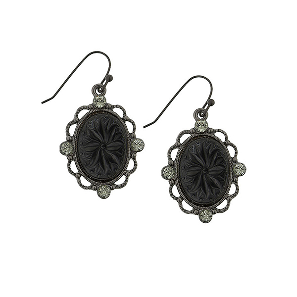 Victorian Gothic Black & Diamond Oval Drop Earrings