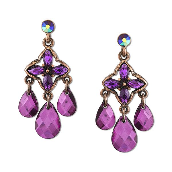 2028 Radiant Violet Copper-Tone Purple Chandelier Earrings