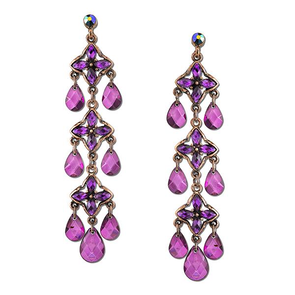 2028 Radiant Violet Copper-Tone Purple Linear Drop Earrings