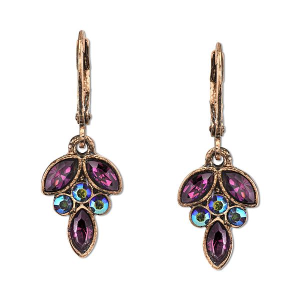 2028 Radiant Violet Copper-Tone Purple Navette Cluster Drop Earrings