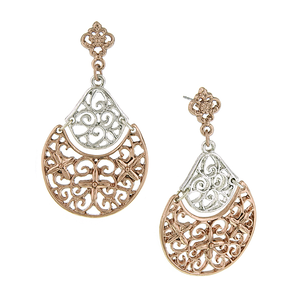 Silver-Tone and Rose Gold-Tone Filigree Drop Earrings