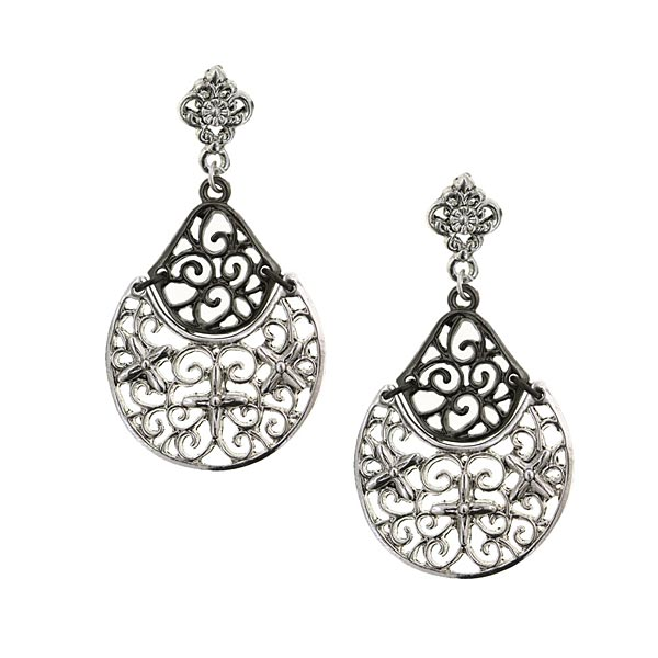 Modern Silver-Tone & Hematite Filigree Earrings