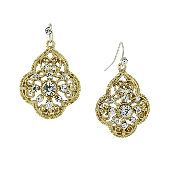 2028 Filigree Sparkle Gold-Tone Crystal Filigree Drop Earrings