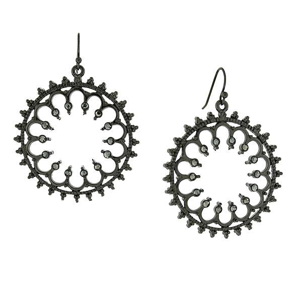 2028 Filigree Sparkle Black-Tone Hematite Crystal Front Facing Hoop Earrings