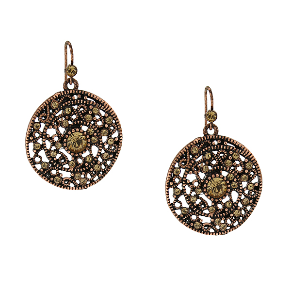 2028 Filigree Sparkle Copper-Tone Crystal Round Filigree Drop Earrings
