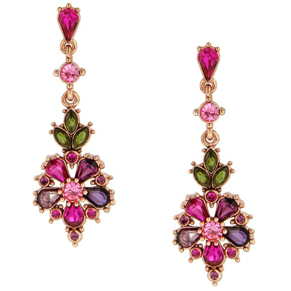 Antiquities Couture Garden Party Pink Crystal Earrings