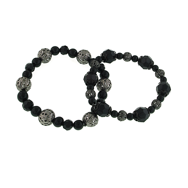 Black Beaded Double Stretch Bracelet Set