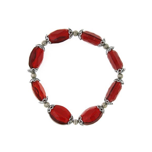 Hematite-Tone Red Beaded Stretch Bracelet