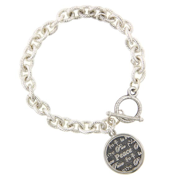 Silver Tone Peace Medallion Toggle Bracelet