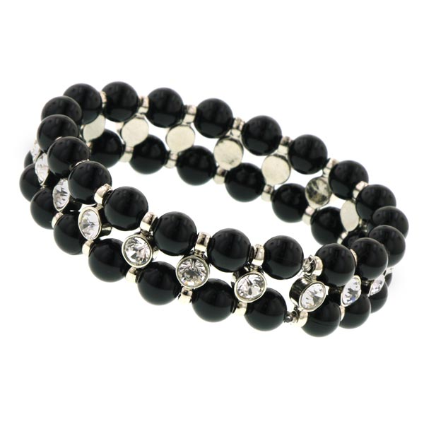 Chérie Black Beaded Crystal Bracelet