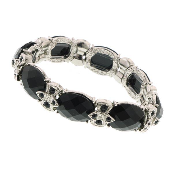 Obsidian Shimmer Black Stretch Bracelet