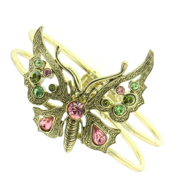 Thalia Pink Crystal Butterfly Cuff Bracelet