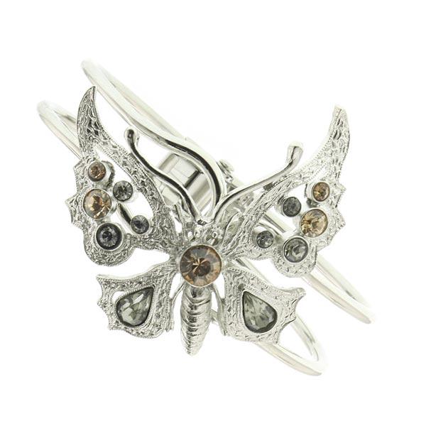 Thalia Topaz Crystal Butterfly Cuff Bracelet