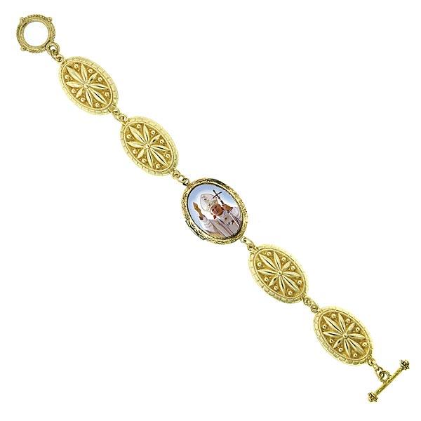 14K Gold-Dipped Pope John Paul II Toggle Bracelet