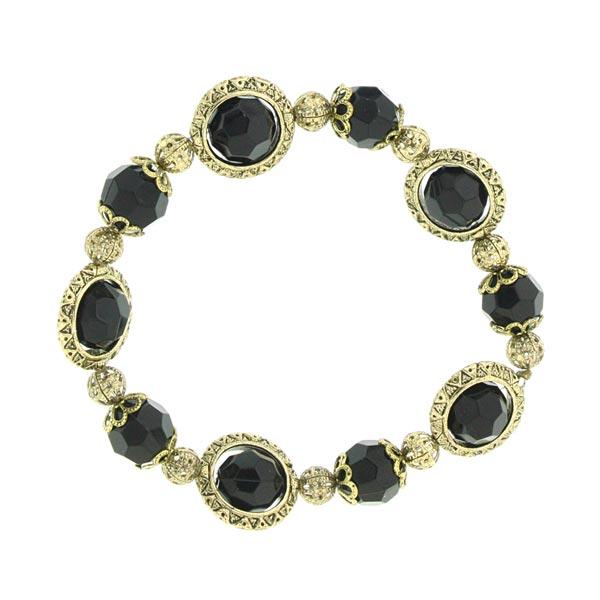 Rotating Metropolis Black and Gold-Tone Bracelet