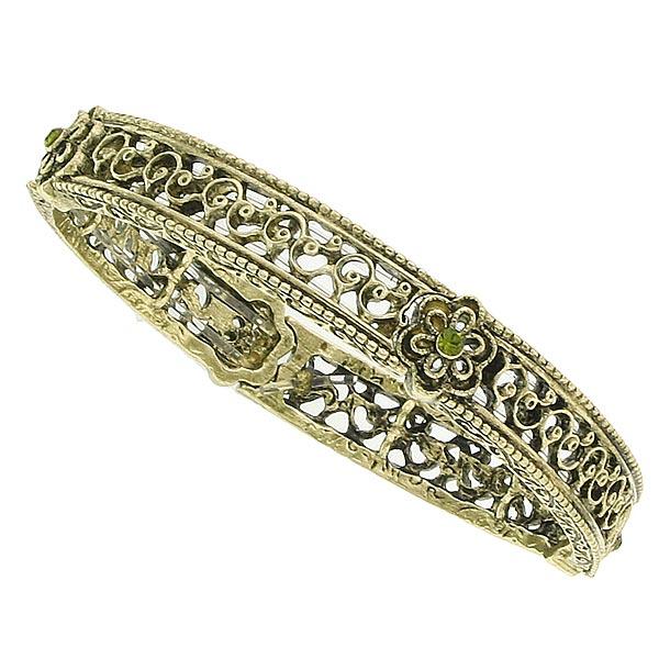 Gold-Tone Floral Filigree Stretch Bangle