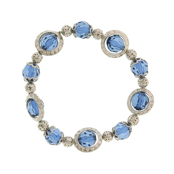 Silver-Tone Blue Beaded Stretch Bracelet