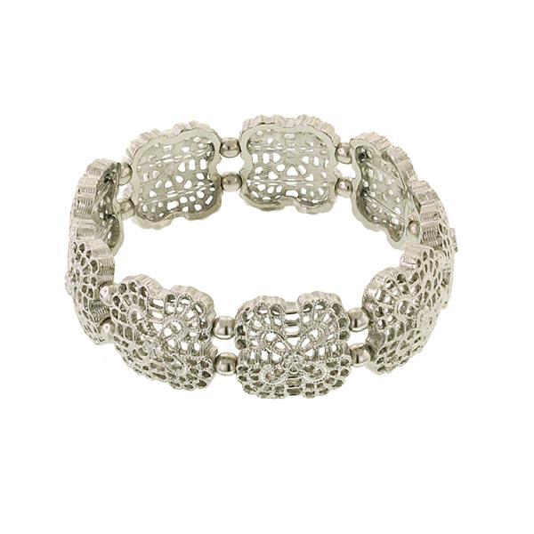 Flower Grid Filigree Silver-Tone Stretch Bracelet