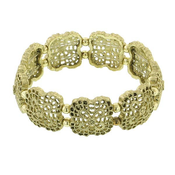 Flower Grid Filigree Brass Stretch Bracelet