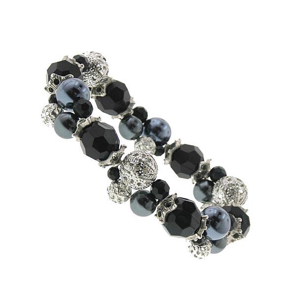 Kaitlyn Jet Black & Navy Blue Stretch Bracelet