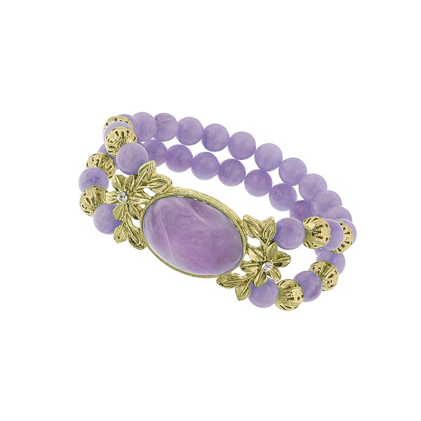 Charming Purple Lilac Beaded Two Row Bracelet