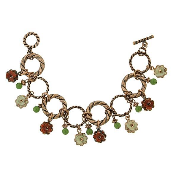 Flower Dangle Charm Bracelet