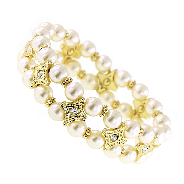 Signature Gold-Tone Crystal and Simulated Pearl Stretch Bracelet