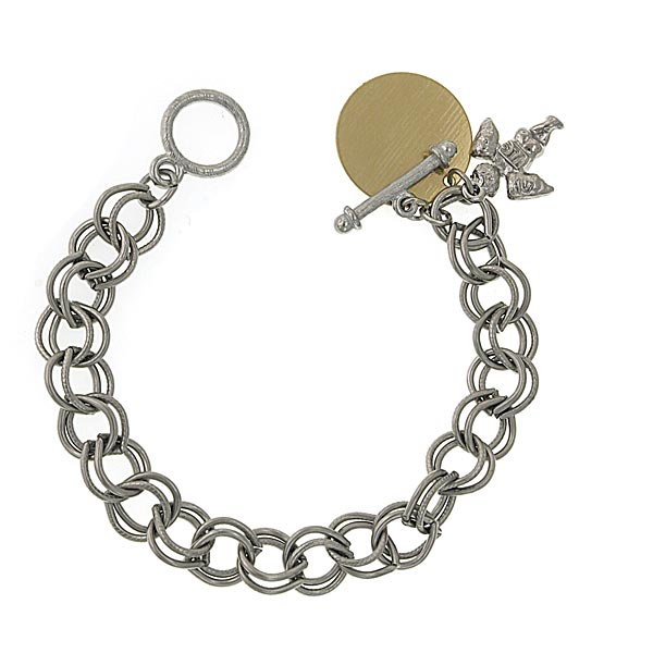 Silver - Tone Angel Custom Engraved Charm Bracelet