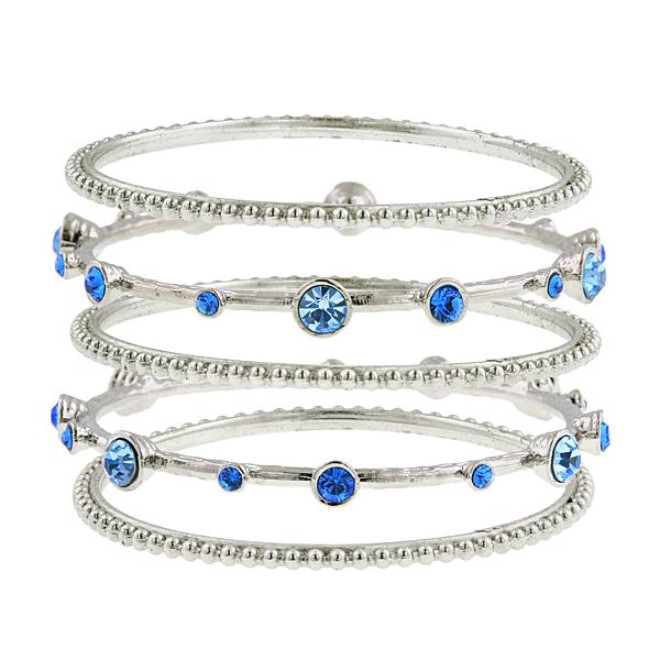 2028 Silver-Tone Blue Crystal Bangle Bracelet Set
