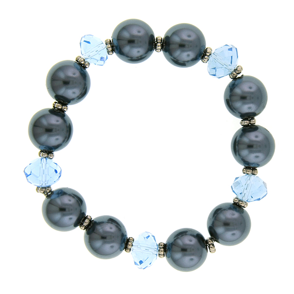 Signature Silver-Tone Light Blue Bead and Grey Faux Pearl Stretch Bracelet