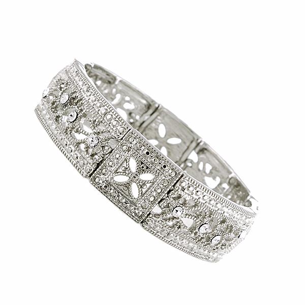 Vintage Lace Silver-Tone Crystal Square Filigree Stretch Bracelet