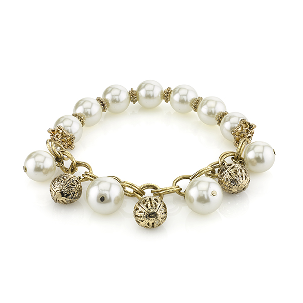 Gold-Tone Simulated Pearl and Filigree Bead Stretch Bracelet