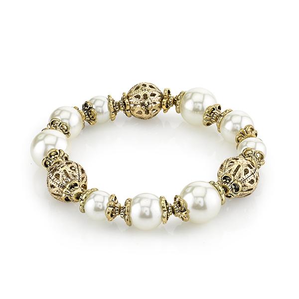 Gold-Tone Faux Pearl Filigree Bead Bracelet