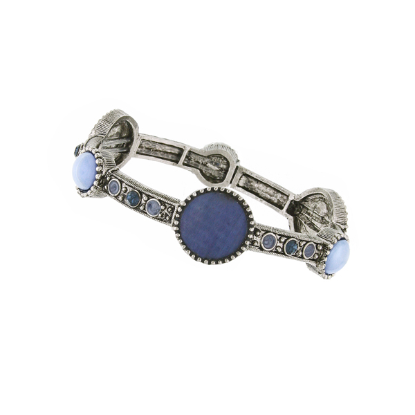 2028 Blue Moon Mother of Pearl Stretch Bangle