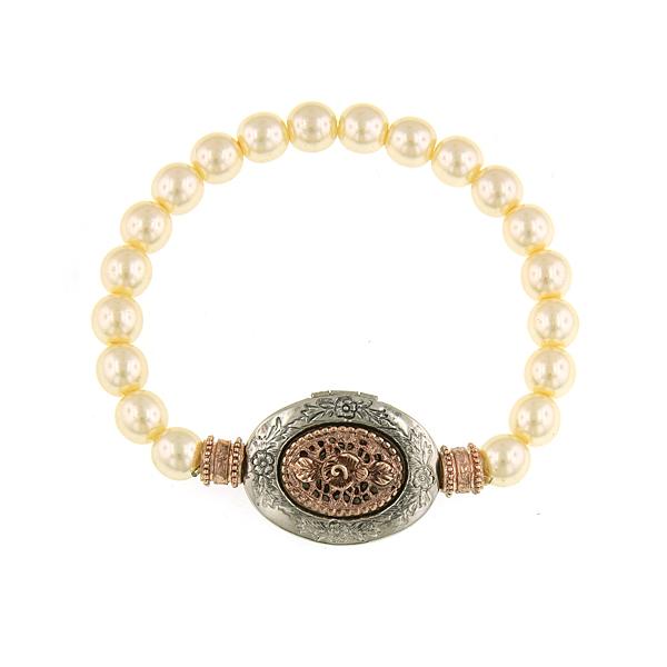 Signature Rose Gold-Tone Faux Pearl Filigree Locket Stretch Bracelet