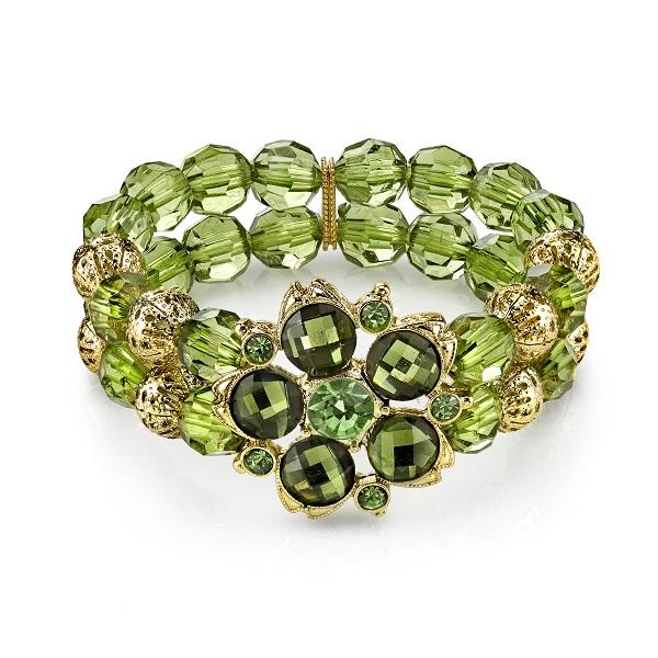 Green Olivine Lucite Blossom Bead Stretch Bracelet