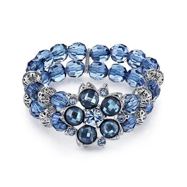 Dreamy Blue Lucite Blossom Bead Stretch Bracelet