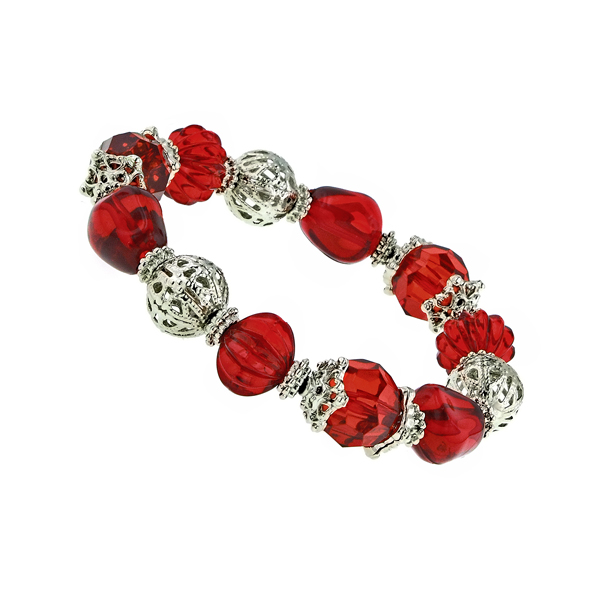 Red and Silver -Tone Filigree Beaded Stretch Bracelet
