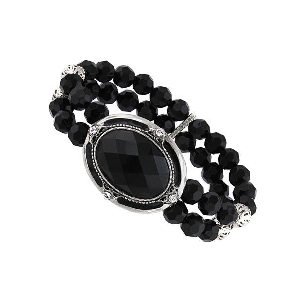 Jet Black Dual Bead Bracelet