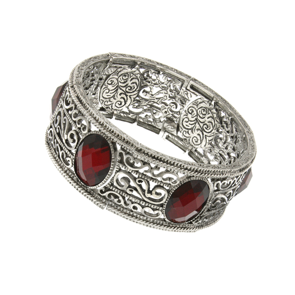 2028 Fire and Ice Silver-Tone Filigree Red Oval Stretch Bracelet