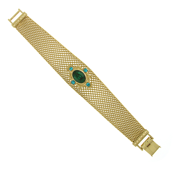 Signature Gold-Tone Emerald Green Mesh Band Bracelet