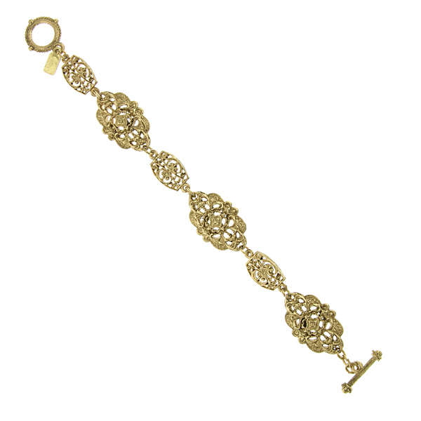 Signature Gold-Tone Fancy Filigree Toggle Bracelet
