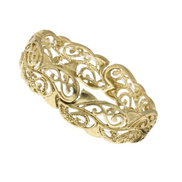 Signature Gold-Tone Filigree Stretch Bracelet