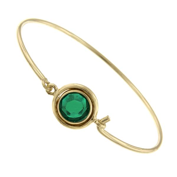 Gold-Tone Emerald Green Swarovski Crystal Bangle
