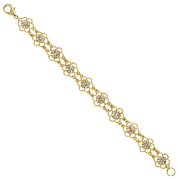 2028 Gold-Tone Crystal Flower Link Bracelet